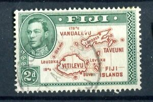 Fiji KGVI 1938-55 2d brown & green 'extra line' Die I p13.5 SG253a used
