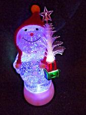 "Hallmark Bag 9"" TALL Snowman w/ Fiber Optic Tree Snow Globe Motorized FREE Ship"