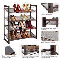 2/3/4 Tiers Iron Oblique Plane Shoe Rack Holder Shelf Storage Organizer Cabinet