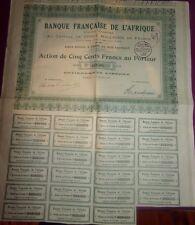 ACTION DE CINQ CENTS FRANCS AU PORTEUR / 1924 / BANQUE FRANCAISE DE L' AFRIQUE