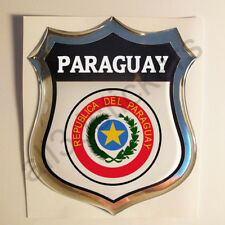 Pegatina Paraguay Escudo de Armas 3D Emblema Vinilo Adhesivo Resina Relieve Moto