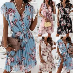 Women Boho Floral V Neck Wrap Dress Ladies Ruffle Swing Holiday Beach Sundress