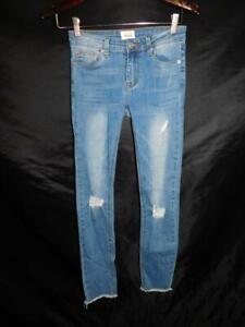 Hudson Girls Size 14 CPSIA 2008 Skinny Blue Jeans Distressed Raw Edge Hem Kids