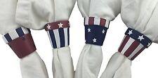 Patriotic Classic Americana Hand Paintd Terra Cotta Napkin Ring Set of 24