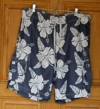 OP Ocean Pacific Mens Size M (32/34) Blue Floral Print Swim Trunks
