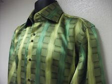 NWOT Daniel Ellissa Mens Dress Shirt Size L 16 1/2  GREEN  PLAID Polyester