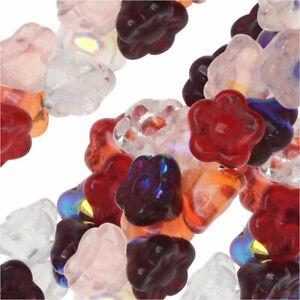 Czech Glass Beads, Flower 7mm, 100 Pieces, Strawberry Fields Mix