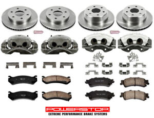 Complete Caliper Rotor Disc & Brake Pad kit Front & Rear for Chevy GMC