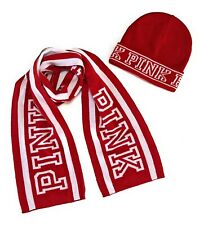 NWT Victorias Secret PINK Scarf and Beanie Hat SET of 2 Red White One Size