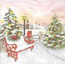 4 Single Paper Napkins for Decoupage Christmas Park Winter Bench