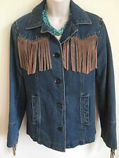 Vtg Esprit Denim Jean Jacket Motorcycle South Western Leather Fringe Women M VGC