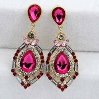 Women Luxury Elegant Rhinestone Big Drop Earrings Wedding Party Jewelry NEW