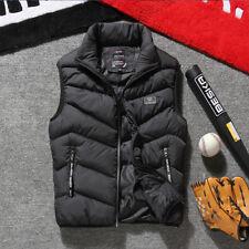 Mens Winter Sleeveless Cotton Jacket Slim Hooded Vest Coat Zip Waistcoat US