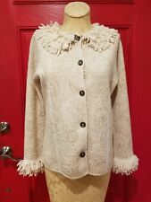 New Sigrid Olsen Wool Knit Jacket Tan Cream Floral Fringe Collar Cuffs XS S M