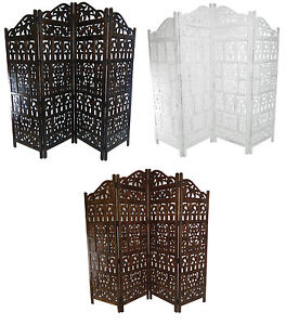 Carved Indian 4 Panel FoldingScreen Room Divider Gamla Design Detailed Heavy