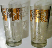Art Deco Glass Tumblers Gold and Clear High Ball Drinkware