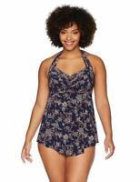 Coastal Blue Women's Plus Size Swimwear Halter Tankini Top Floral Black Size 3X