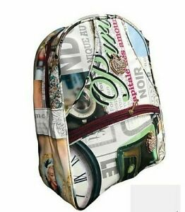 Girls Retro Backpack Rucksack School College Travel Laptop Faux leather Bag