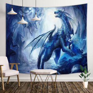 Blue Dragon Patron Saint Tapestry Wall Hanging Decor for Home Bedroom  80x60''