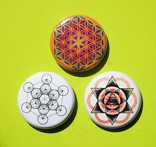 """3 1"""" Sacred Geometry Flower of Life - pinback badges buttons"""