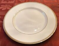 "Franciscan China Huntington 10 5/8"" Dinner Plates Platinum Trim Set of 12 EUC"