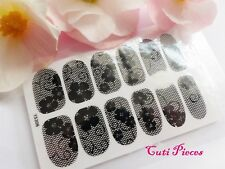 Nail Self Adhesive Full Nail Polish Wrap Sticker Black Rhinestone Lace Decal L5