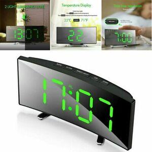 Alarm Clock Mirror LED Wireless 5.0 Bluetooth Music Player Electronic Digital