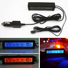 12V/24V In/Out Car SUV Voltage Meter LCD Digital Clock Thermometer ICE Alert Kit