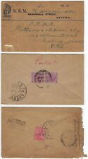 CEYLON INDIA 1920s THREE COVERS TWO WITH POSTAGE DUE MARKINGS