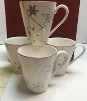 Lenox Merry and Bright Snowflake Christmas Coffee Tea Mugs Set of 4 New