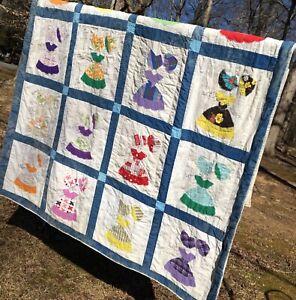 """Vintage Sunbonnet SUE Homemade Handmade Quilt CUTTER 65"""" x 81"""""""