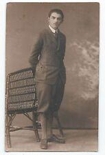 BP110 Carte Photo vintage card RPPC jeune Homme mode fashion chaise