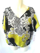 Free 2 Luv Ladies Plus Size Tunic Black Lime Size 1X New With Tags