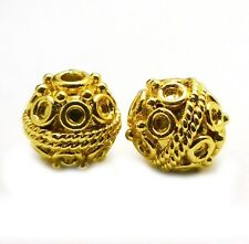 8 PCS 10MM SOLID COPPER BALI BEAD  18K GOLD PLATED B 608