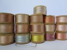 Vintage SILK thread Belding Heminway size D 16 spool lot pastels silk lot A