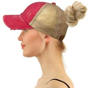 C.C Ponytail Criss Cross Messy Buns Ponycaps Baseball Cap Trucker Hat Berry