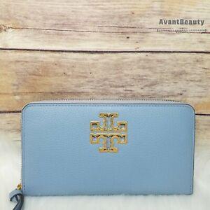 Tory Burch (60413) Britten Zip Continental Pebbled Leather Wallet Clutch Blue