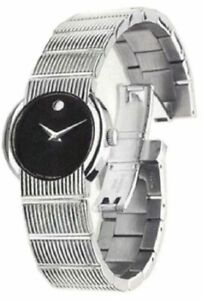 MOVADO 0604422 CONCERTO STAINLESS STEEL BLACK DIAL LADIES WATCH $1195.00 RETAIL