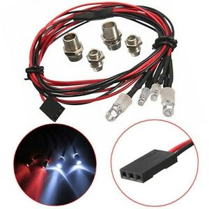 Upgrade LED Lights Fits RC Model Car White Headlamps Headlights & Rear Red Light