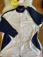 Michael Jordan Jumpman Zip Up Navy and White W/ Green Logo Full Zip Jacket Sz.XL