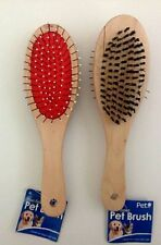 2 × Dual-Sided Massage Brush Grooming Dog/Cat Hair Wood Handle Comb. USA SELLER