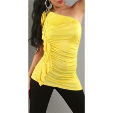 Elegant One Shoulder Top With Ruffles Yellow #T766