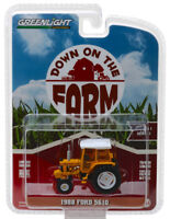 1988 Ford 5610 Tractor Enclosed Cab Yellow DOWN FARM GREENLIGHT DIECAST 1/64