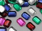 18x13mm Assorted Colors Flat Back Acrylic Octagon Gems - 100 Pieces
