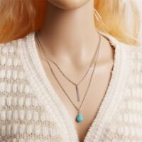 Fashion 2 Layer Turquoise Water Drop Strip Tassel Pendant Charm Necklaces Bid