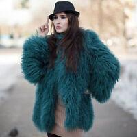 Real Women MONGOLIAN Lamb Curly Fur Long Coat Jacket Bridal Wholesale Price