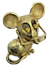 "Vintage Avon Mouse Brooch Glasses Rhinestone Eyes 1970's Gold Tone 1"""