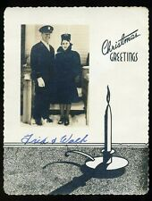 Vintage 1940's Military Couple Photo Merry Christmas Photograph Card