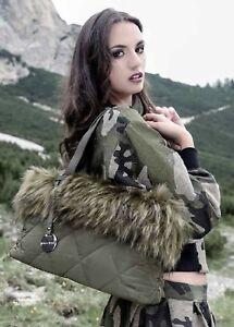 Alex Max Modern Fine Faux Fur Handbag - Green - Florence, Italian