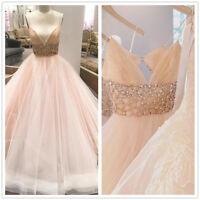 Blush Pink Spaghetti Straps Wedding Dress Tulle Beaded A-Line Bridal Gown Custom